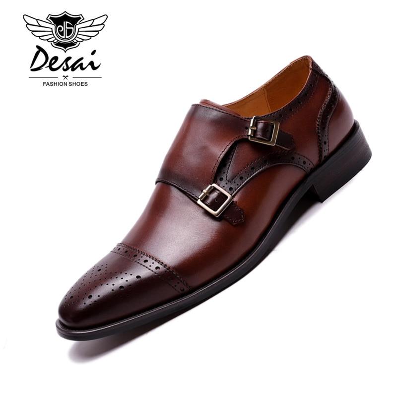 Desai Handmade Genuine Leather Double Buckles Men's Dress Shoes Formal Wedding Office Man Monk Shoes Strap Footwear Breathable