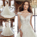 Vestidos De Noiva Elegant Short Sleeves Boat Neck Ivory Wedding Dresses Lace Appliques Bridal Gowns Lace-up Back