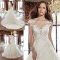 Vestidos De Noiva Elegante Curto Mangas Boat Neck Vestidos de Casamento Do Laço Do Marfim Apliques Vestidos de Noiva Lace-up de Volta