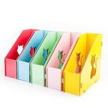 Много цветов милый кот выдалбливают DIY Деревянные кейсы для хранения журналов настольная стойка для книг офисный коллектор файлов