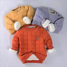 Dla dzieci zima dla niemowląt bluza ciepła odzież wierzchnia z futro odzież dla dziewcząt chłopców 2019 bluza kurtka dla dzieci płaszcz dół topy ubrania tanie tanio GeeryBB Na co dzień COTTON Plaid REGULAR O-neck Kurtki płaszcze Pełna Pasuje prawda na wymiar weź swój normalny rozmiar
