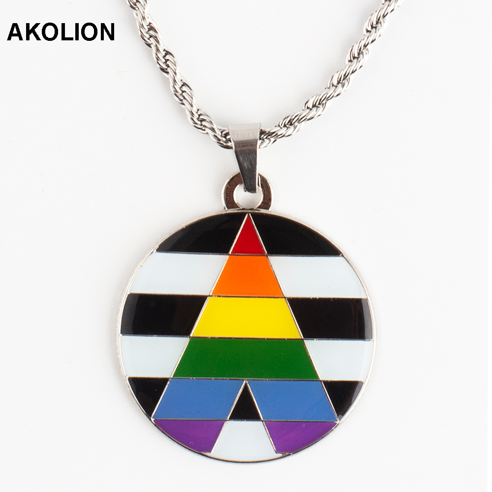 Silver Square Necklace Gay Pride Flag Rainbow Lips