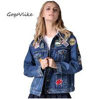 2017 Spring Applique Badge Bf HARAJUKU Jean Outerwear Female Medium Long Loose Plus Size Denim Jacket