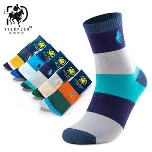 Image 1 - PIER POLO Calcetines de algodón para hombre, calcetín informal, bordado de negocios, Multicolor, 5 pares, venta al por mayor