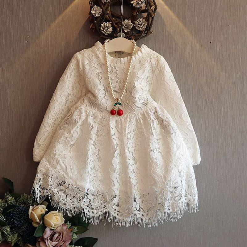Fashion Autumn Children Kids Baby Girls Roupas Long Sleeve Lace Dresses Princess Tutu Wedding Party Vestidos Dress S4042