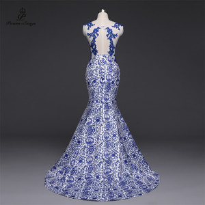 Image 2 - Gedichte Songs 2019New Lange Abendkleid vestido de festa Sexy Backless Luxus Blau formale party kleid prom kleider China