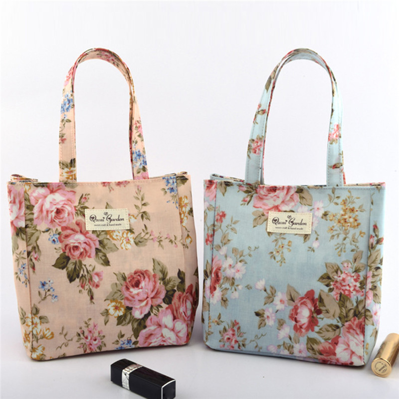 FangNymph 2018 Flower Printed Frosted Cloth Tote Female Single Shoulder Lunch Handbag Women Casual Shopping Bags Girls Beach Bag aosbos fashion portable insulated canvas lunch bag thermal food picnic lunch bags for women kids men cooler lunch box bag tote