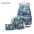 ZENBEFE 3 Pcs/Set Santa Claus Printing Backpacks Cute School Bag For Teenage Girls Capacity Women'S Backpacks For Travel Daypack