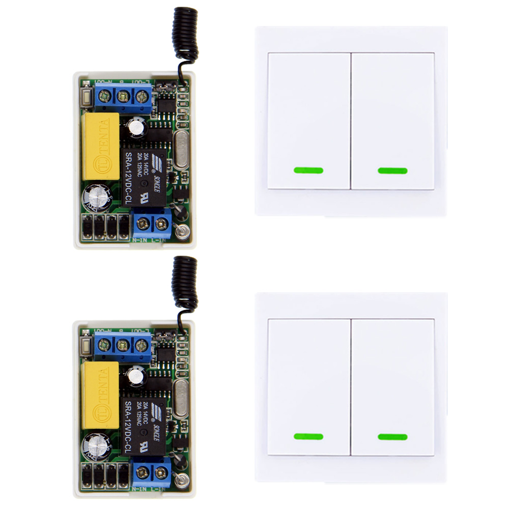 Mini Size 220V 1CH 1CH 10A Wireless Remote Control Switch Receiver + 2X 86 2CH Wall Panel Remote Transmitter ,315 433.92,Toggle 315 433mhz 12v 2ch remote control light on off switch 3transmitter 1receiver momentary toggle latched with relay indicator