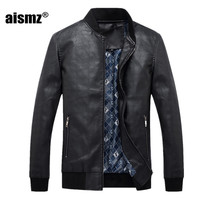 Aismz 2017 Faux Leather Jacket Men Fashion Warm Thicken Coats Male Solid Jackets For Man Brown