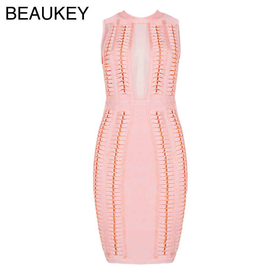 Pink Mesh Sleeveless 2016 New Arrivals Complex Process Sexy Women Dress Rayon Bodycon Knee Length Bandage