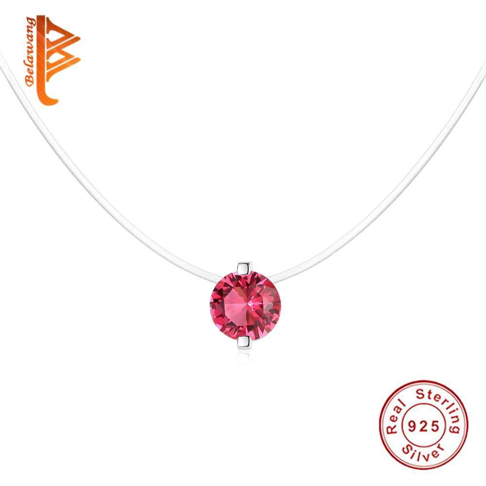 5335da2ce ... Classic 925 Sterling Silver Bright Crystal Round Pendant Necklaces with  Clear CZ for Women Fashion Jewelry ...