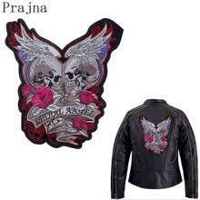 купить Prajna Skull Patch Big Rock Motorcycle Patch Stalker Rose Wings Iron On Ironing Embroidered Biker Patches For Clothes Jacket DIY дешево