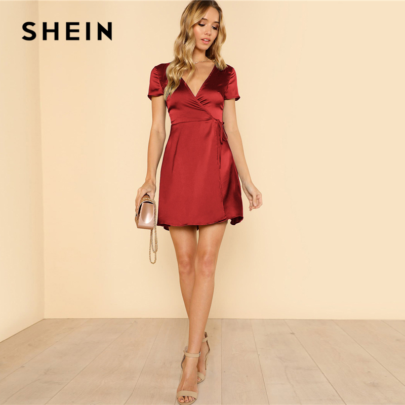 61d59adf2a SHEIN Surplice Wrap Solid Dress Burgundy Deep V Neck Fit and Flare Belted  Dress Women Summer Plain High Waist A Line Dresses-in Dresses from Women s  ...