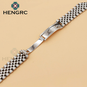 Image 4 - 20mm Metal Watchbands Bracelet Men 316L Stainless Steel Watch Band Women Fashion Watch Strap Deployment Clasp Buckle Accessories