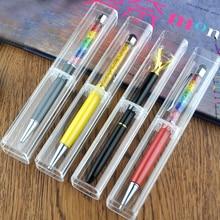 100 ชิ้นพลาสติกโปร่งใสของขวัญกล่องปากกา 12 เซนติเมตร 14 เซนติเมตรปากกาคริสตัล stylus ปากกาโรงเรียนเครื่องเขียนปากกาอุปกรณ์กรณี, พิมพ์โลโก้
