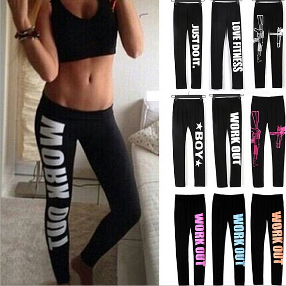 New Casual 2016 letters Printed Stretch Pants women letters printed work out just do it leggings Women Slim Fit Cotton Leggins
