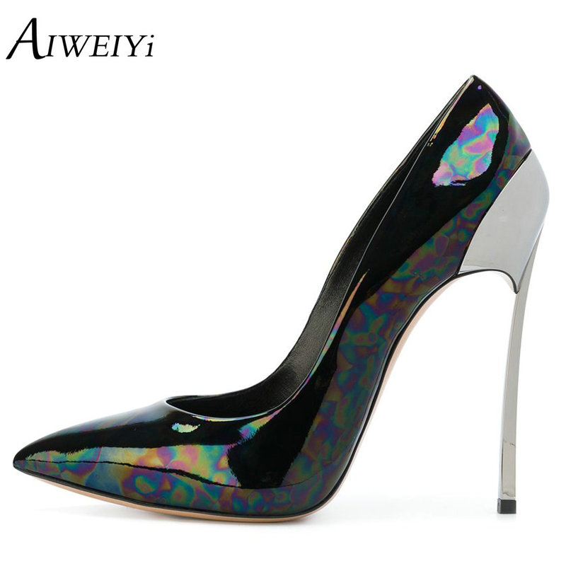 AIWEIYi Women Pumps Ladies Sexy Pointed Toe High Heels Fashion Patent Leather Metal Stiletto High Heel Shoes Woman Large Size aiweiyi women high heel pump shoes 2018 pointed toe med heel high heels patent leather slip on platform pumps lady wedding shoes
