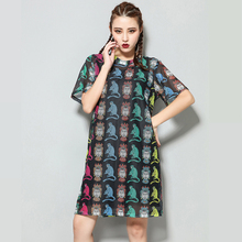 2016 Limited Robe Dress Summer New Large Size Women's Cartoon Printed Long Section Of The T-shirt Female Short-sleeved Dresses