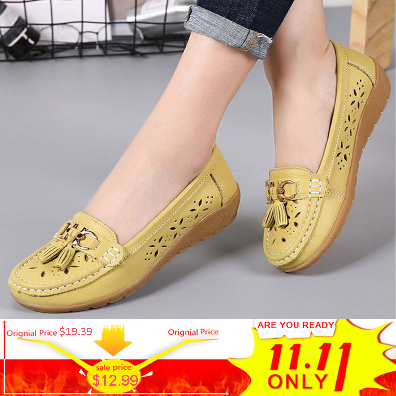 Shoes Women Genuine Leather ballet flats Woman Sneakers 2018 Fashion Women Flats tenis feminino Hollow Out loafers ladies shoes 2018 new genuine leather flat shoes woman ballet flats loafers cowhide flexible spring casual shoes women flats women shoes k726