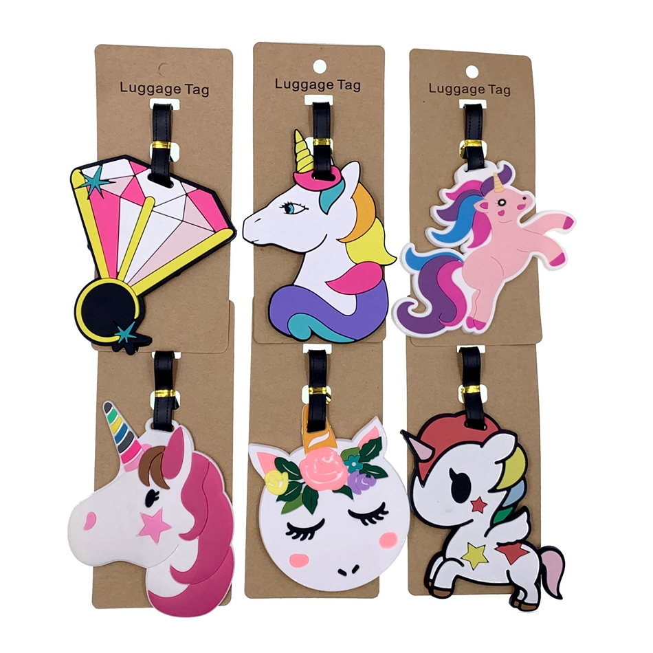 Travel Accessories Portable Label Luggage Tags Animal Cartoon Unicorn  Silica Gel Suitcase ID Addres Holder Baggage Boarding