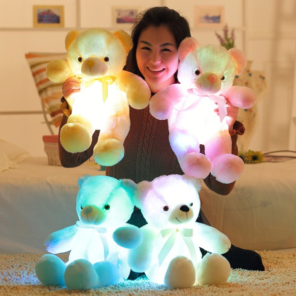 50cm Creative Light Up LED Inductive Teddy Bear Stuffed Animals Plush Toy Colorful Glowing Teddy Bear Christmas Gift for Kids large cute cartoon animals bear panda doll bear hug colorful led flashing light led plush toy for kids children gift