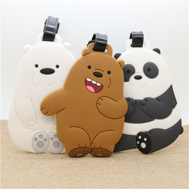 We Bare Bears Luggage Tag Soft PVC Gel COOL Style Suitcase Tags Name Address Holder Baggage Boarding Tags Label High Quality