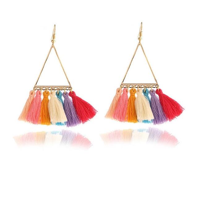 2018 nueva Declaración cuelga los pendientes de gota de moda Multicolor de la borla de la boda joyería de las mujeres