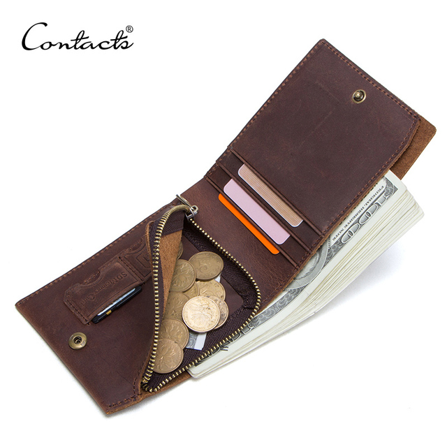 CONTACTS crazy horse 100% genuine leather men wallet slim short coin purse walet man card holder male small coin pocket wallets