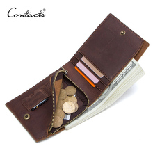Contacts狂気の馬100% 本革メンズ財布スリムショートコイン財布walet男カードホルダー男性小さなコインポケット財布