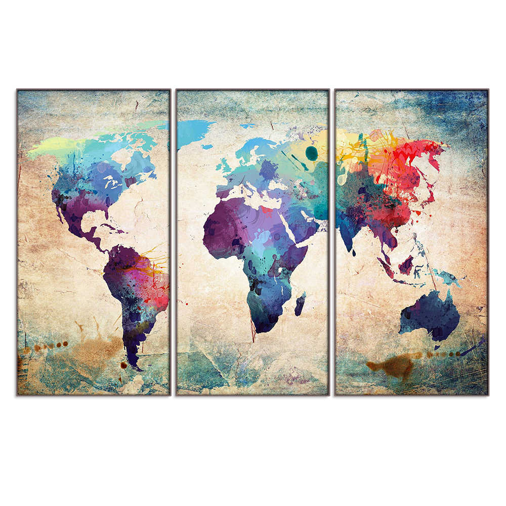 Canvas Painting 3 Piece World Map Picture Canvas Wall Art Framed Modern Posters and Prints Wall Pictures for Living Room Bedroom