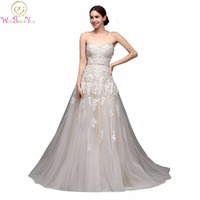 100 Real Images High Quality Cheap Champagne Wedding Dresses A Line Swetheart Bride Gowns Lace Vestido