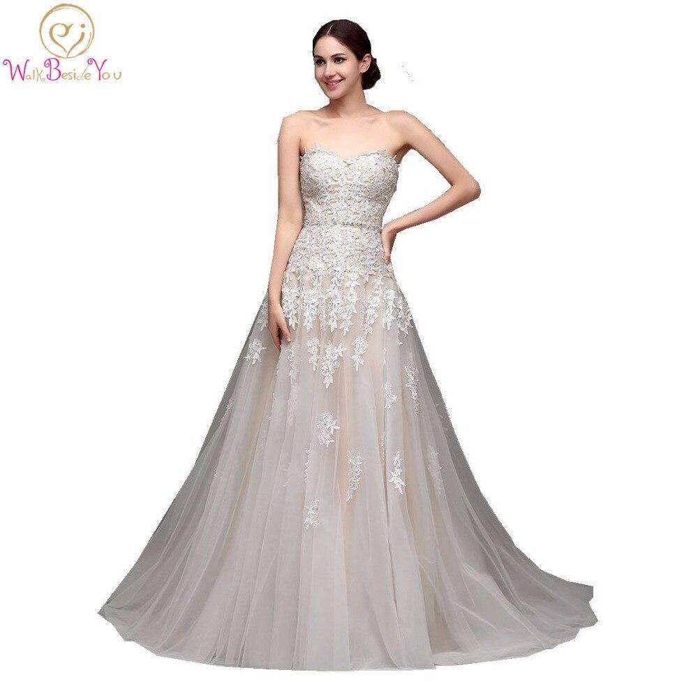 100% Real Images High Quality Cheap Champagne Wedding Dresses A-line Swetheart Bride Gowns Lace Vestido De Noiva Com Manga
