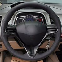 leather hand Top Leather Steering Wheel Hand-stitch on Wrap Cover For Honda Civic 8th 2006-2011 (1)