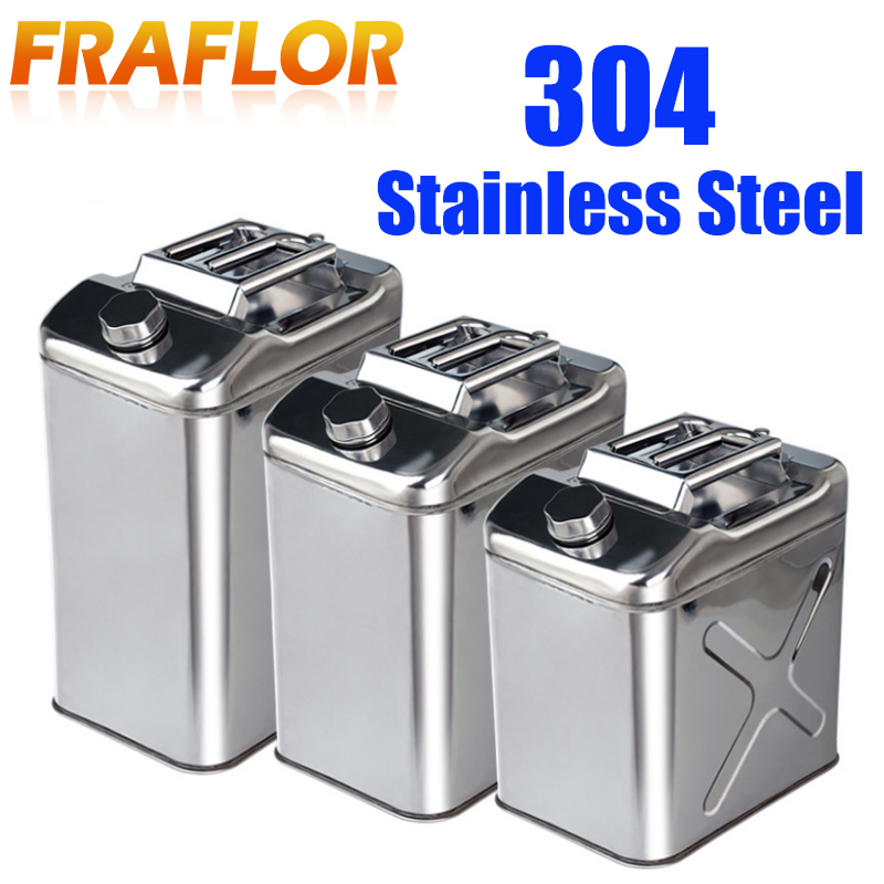 Outdoor 10L 20L 304 Stainless Steel Fuel Tank Oil Gasoline Diesel Tank Metal Iron Storage Can