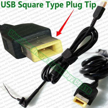 100pcs wholesale Factory direct supply price A+ quality USB Square yellow pin DC Power Tip Plug Cord Cable for Lenovo AC Adapter