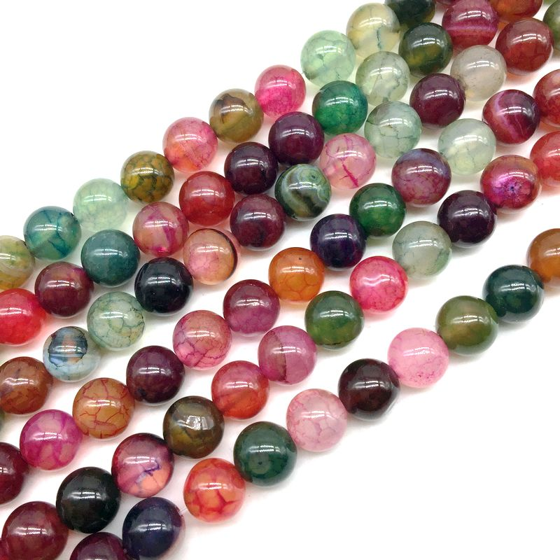 8 Colors Crackle Agates Natural Stone Beads Tourmaline Color Stone Round Ball Spacer 6 mm 8 mm 10 mm