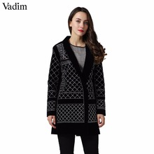 vadim Sexy Geometric Pattern Rhinestone Notcjed Collar long-sleeved bodycon tight