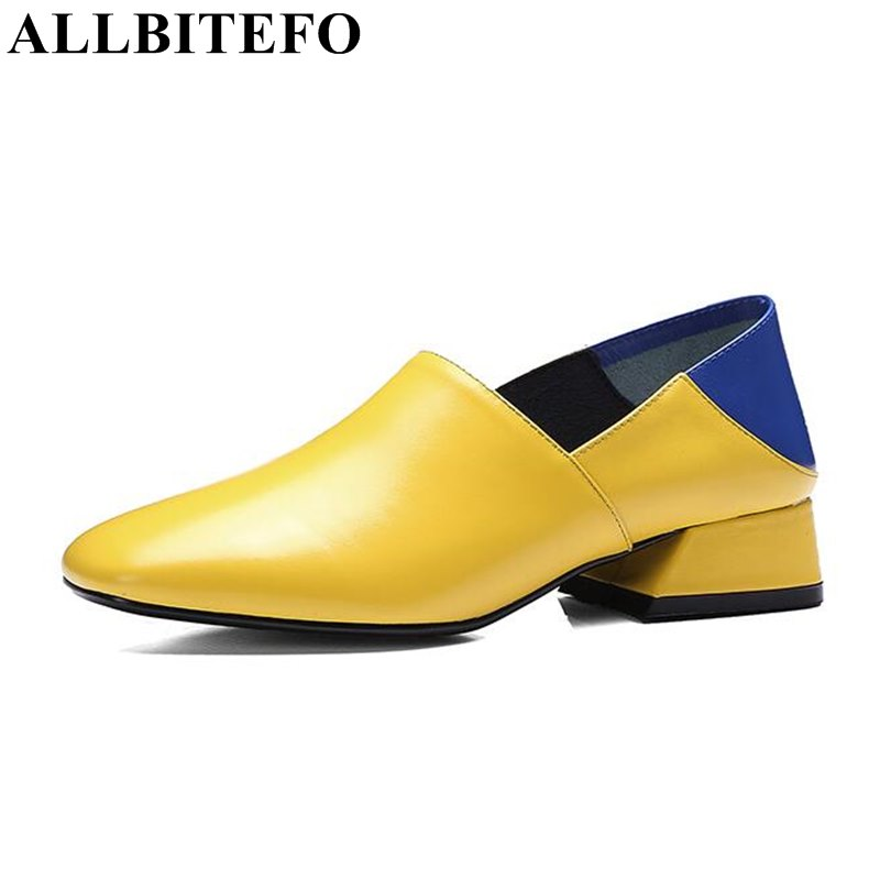 ALLBITEFO fashion casual genuine leather square toe medium heel comfortable ladies shoes new spring mixed colors women pumps