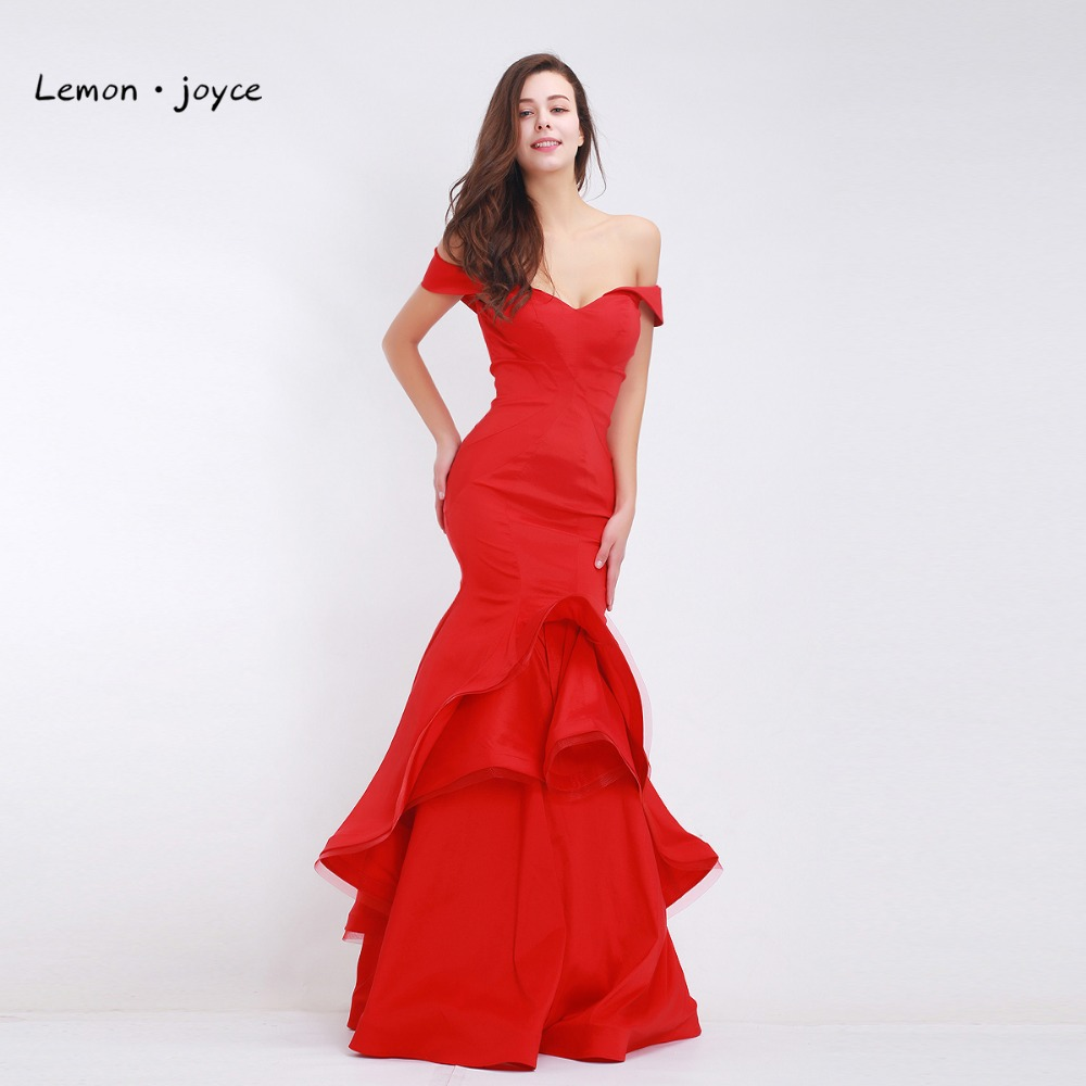 Lemon joyce Red Evening Dresses Long 2019 Elegant Boat Neck Simple Mermaid Prom Party Dress Plus