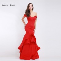 Red Mermaid Evening Dresses Long 2017 Elegant With Boat Neck Simple Dresses Party Gowns Vestido De