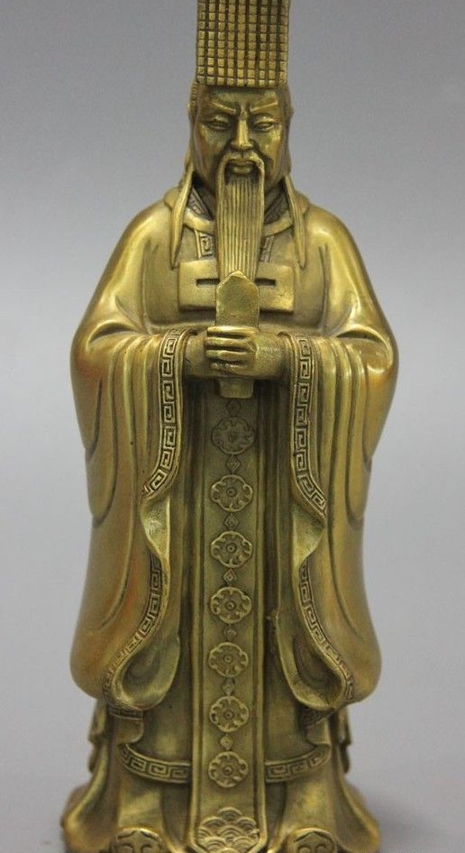 Chinese Taoism copper brass Deity Heaven Jade Emperor seat Dragon Chair Statue