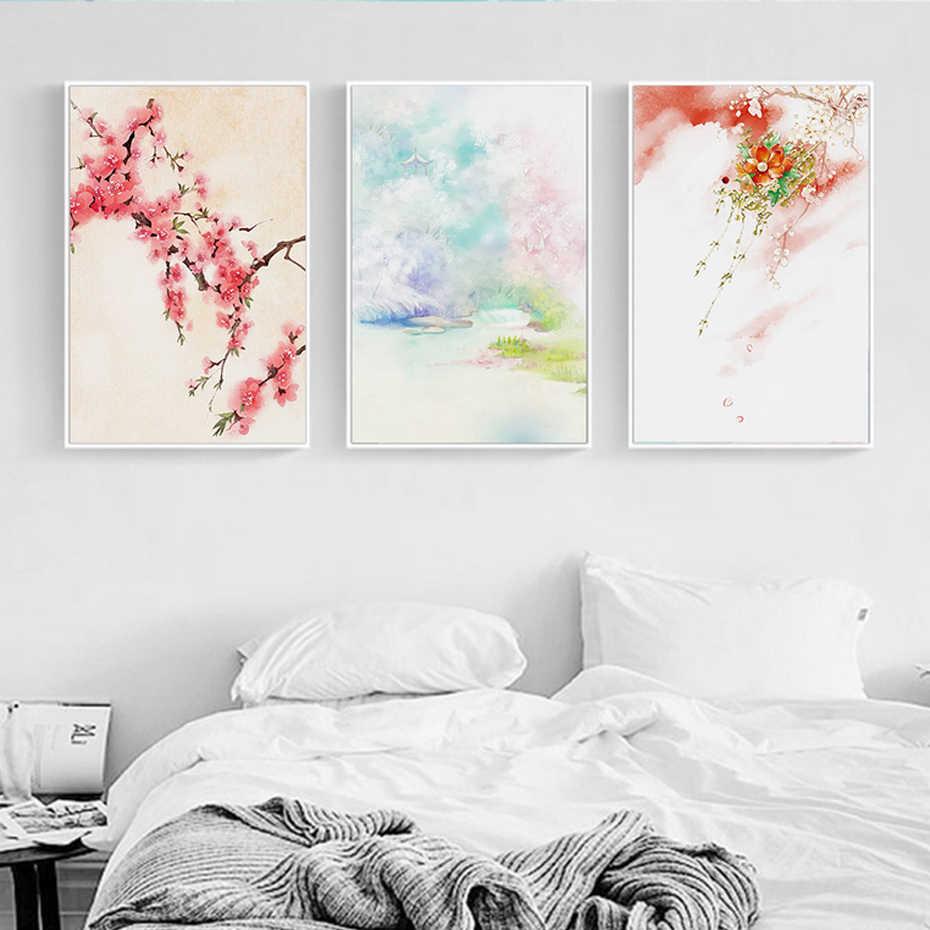 Paysage Pastoral chinois pêche fleur montagne toile peintures affiche impression nordique mur Art photo salon décor à la maison