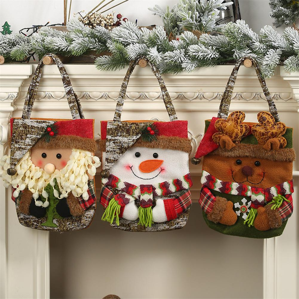 Christmas Gift Bags Santa Snowman Elk Bear Candy Gift Bag Holiday Supplies Children Candy Bag Christmas Gifts