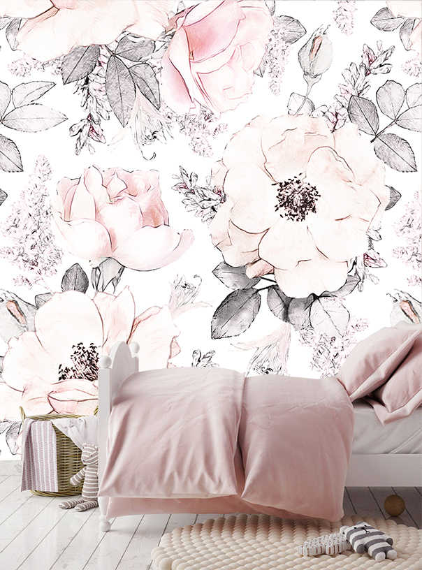 amie 9m zone customerize size mural wallpapers girls bedroom floral wallpapers baby pink white background wall papers