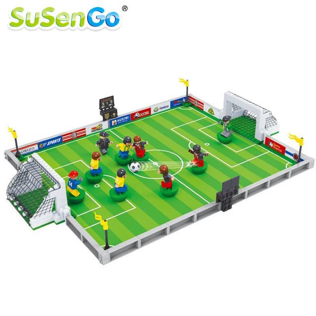 Susengo brasil copa del mundo de fútbol de fútbol estadio ladrillos bloques de construcción 3d diy kids regalos juguetes