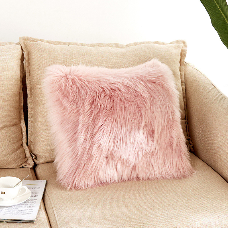 artificial wool pure clolor fur sheepskin pillow cover solid hairy faux plain fluffy soft throw pillowcase washable pillow case