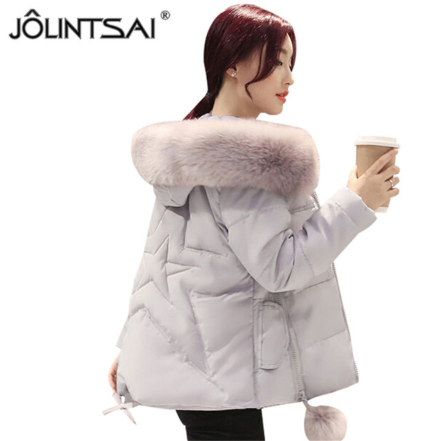 2016 New Fashion Jackets & Coats Slim Winter Coat Women Thickening Large Fur Collar Hooded Jacket Female Femme Outwear