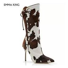 Г. Новые ковбойские ботинки с принтом коровы для женщин, дизайнерская обувь на высоком каблуке под вечернее платье женские кожаные ботинки челси на шнуровке с острым носком
