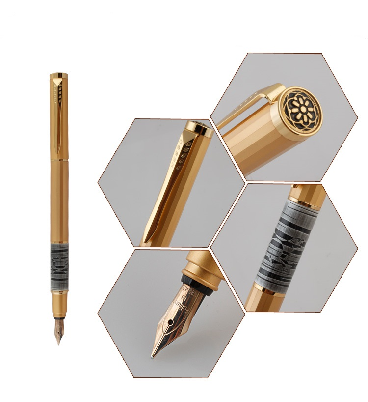 Fuliwen F03 Unique Rhombus Pen Body 10K Golden Nib Fountain Pen High Quality Gold Gift Ink Pen 2 Color Optional